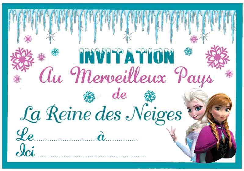 cartons dinvitations imprimables gratuits pour anniversaire reine des neiges