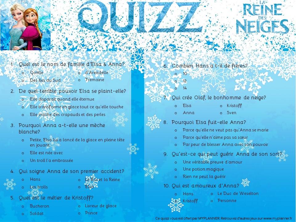 Le quizz 100 reine des neiges myplanner le blog - Jeux gratuit la reine des neige ...