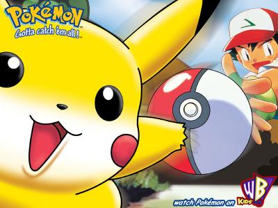poster de pikachu jaune et Sacha lançant une pokéball